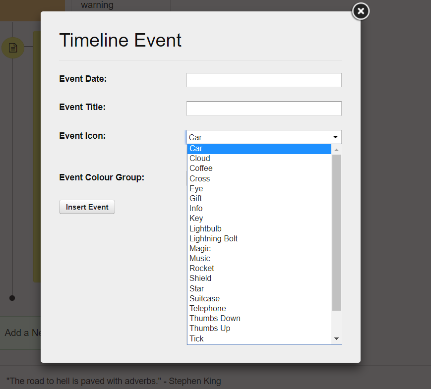 Timeline event | ApolloPad, distraction free novel writing tool