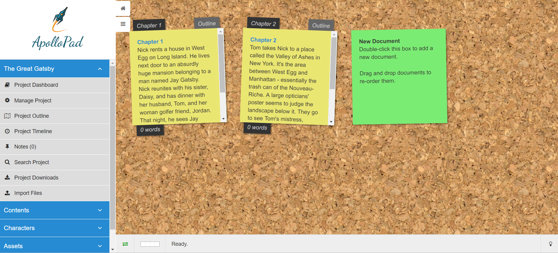 Sticky notes | ApolloPad, distraction free novel writing tool